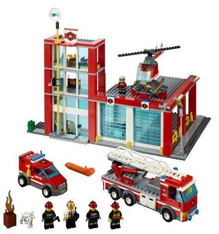 Лего Сити 60004 Пожарная часть инструкция, обзор, картинки и видео ...