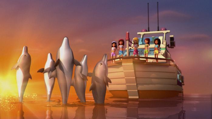 Корабль с дельфинами